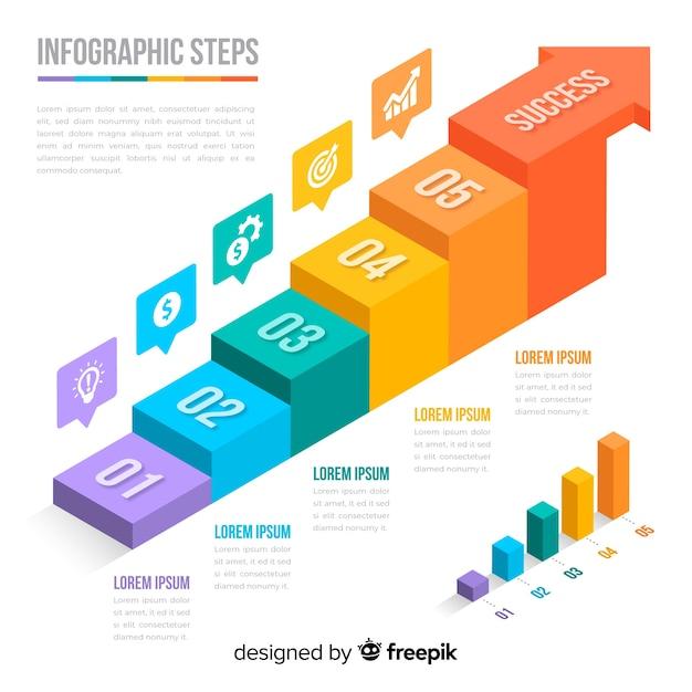 Infográfico colorido isométrico passos coleção Vetor grátis