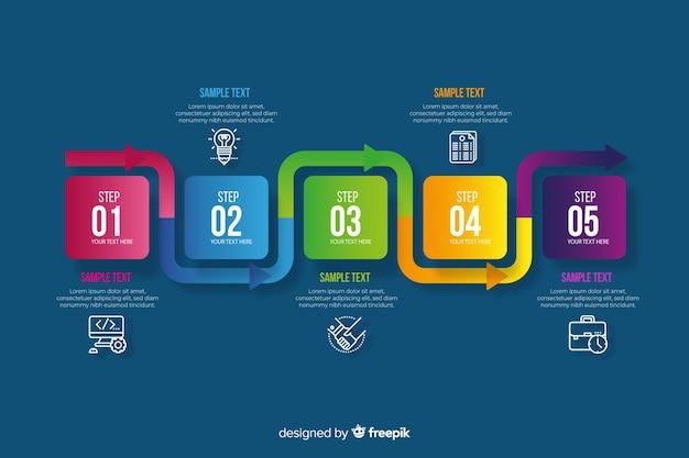 Infográfico colorido passos design plano Vetor grátis