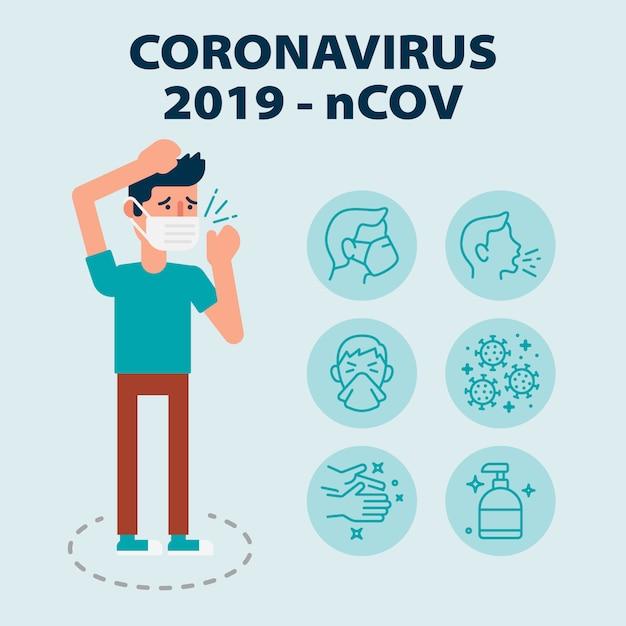 Infográfico com conjunto de ícones sobre a doença do vírus wuhan de coronavírus com homem doente ilustrado usando máscara Vetor Premium