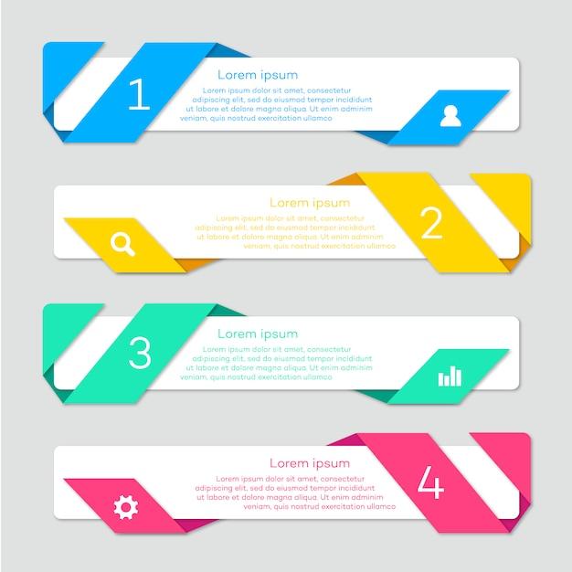 Infográfico com design de fita Vetor grátis