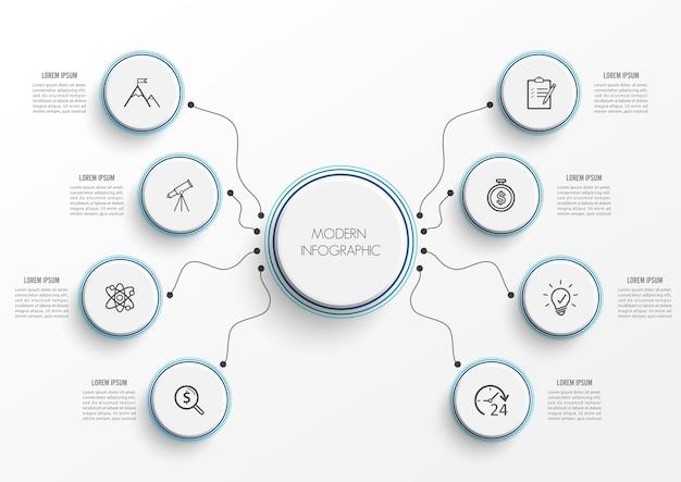 Infográfico com etiqueta de papel. negócios com 8 opções. Vetor Premium