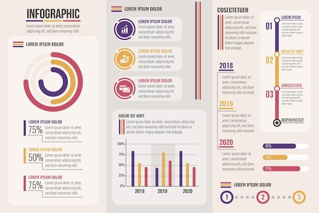 Infográfico com fases de cores retrô Vetor grátis