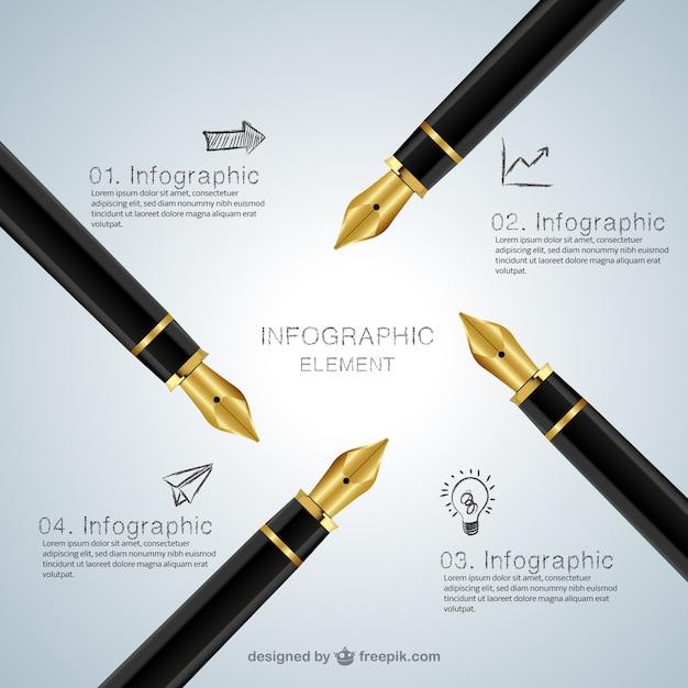 Infográfico com fontes caneta Vetor grátis