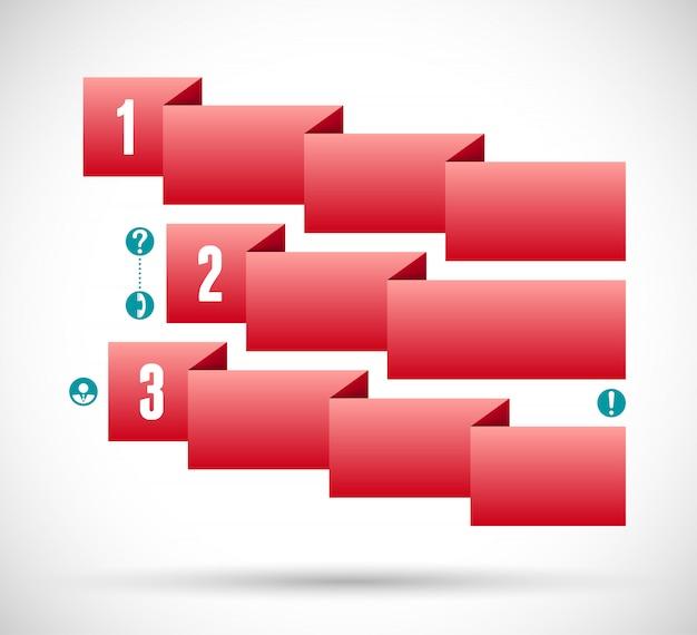 Infográfico com gráfico de etapas de fita vermelha Vetor Premium