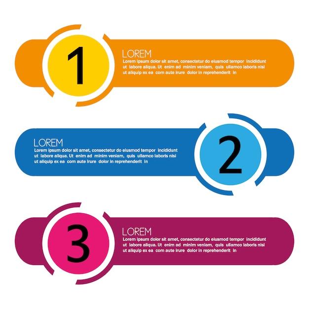 Infográfico com passos de design multicolor Vetor grátis