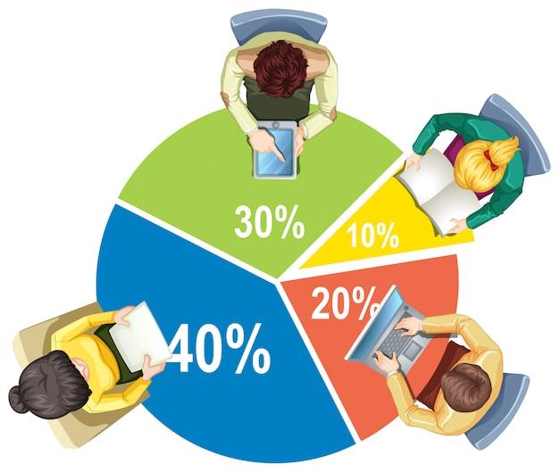 Infográfico com piechart e pessoas de negócios Vetor Premium