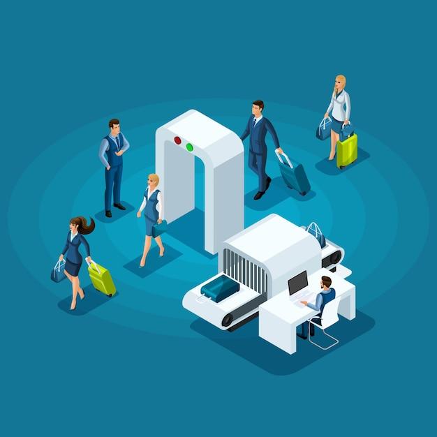 Infográfico conceito de passar a inspeção de bagagem na entrada do edifício do aeroporto, mulheres de negócios e empresários em viagem de negócios Vetor Premium