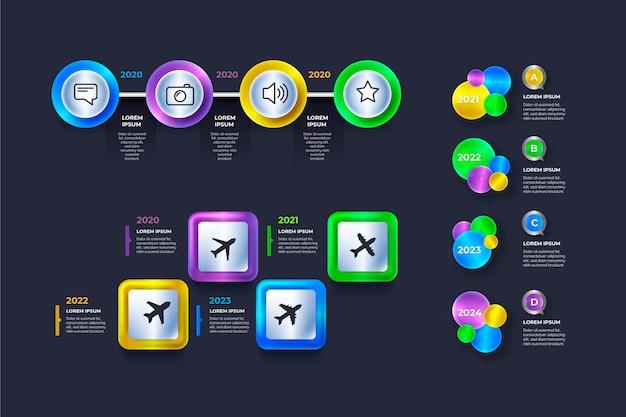 Infográfico cronograma realista brilhante Vetor grátis