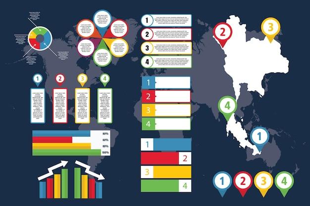 Infográfico da tailândia com mapa para negócios e apresentação Vetor Premium