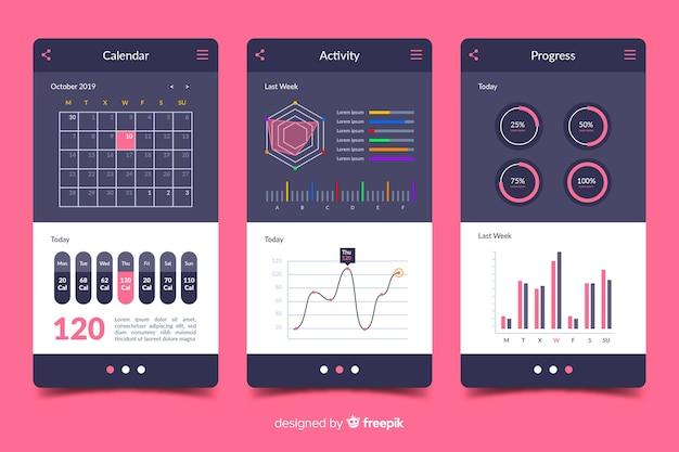 Infográfico de aplicativo móvel de fitness plana Vetor grátis