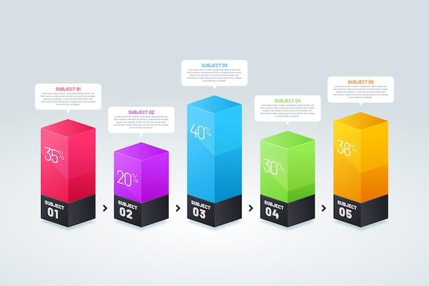 Infográfico de barras 3d coloridas Vetor grátis