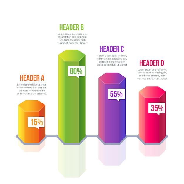 Infográfico de barras 3d colorido com texto Vetor grátis