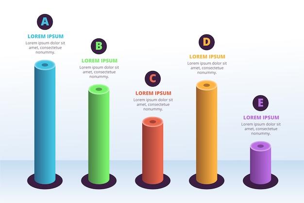 Infográfico de barras 3d modelo Vetor grátis