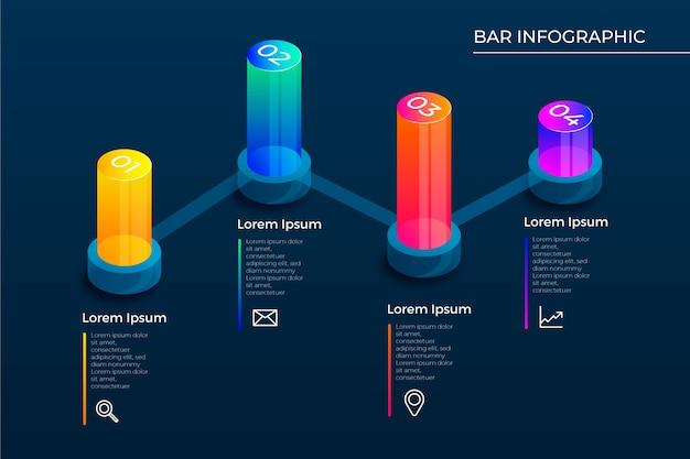 Infográfico de barras 3d Vetor grátis
