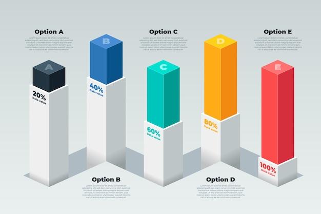 Infográfico de barras 3d Vetor Premium