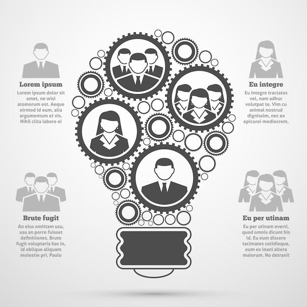 Infográfico de bulbo de composição de equipe de negócios Vetor grátis