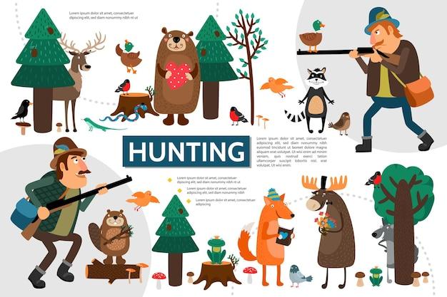 Infográfico de caça plana com caçadores de animais selvagens e pássaros na ilustração da floresta Vetor grátis