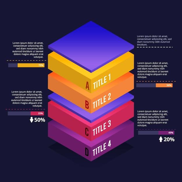Infográfico de camadas de bloco 3d Vetor grátis