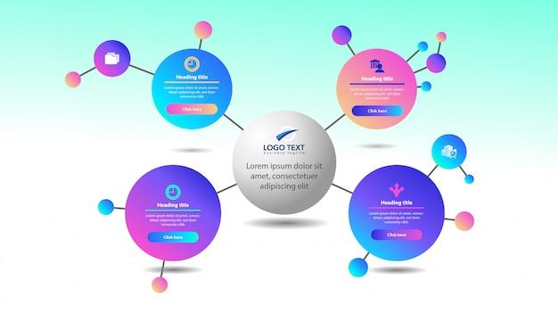 Infográfico de círculo colorido abstrato Vetor Premium