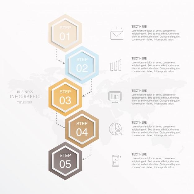 Infográfico de cor bonita e ícones para o conceito de negócio. Vetor Premium