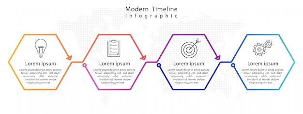 Infográfico de cronograma moderno hexágono Vetor Premium