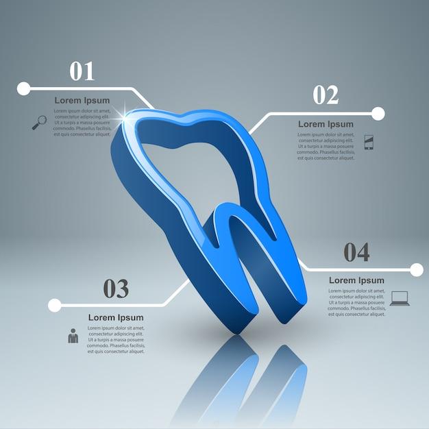 Infográfico de dente. Vetor Premium