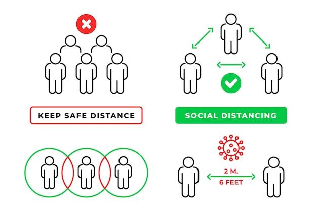 Infográfico de distanciamento social Vetor Premium