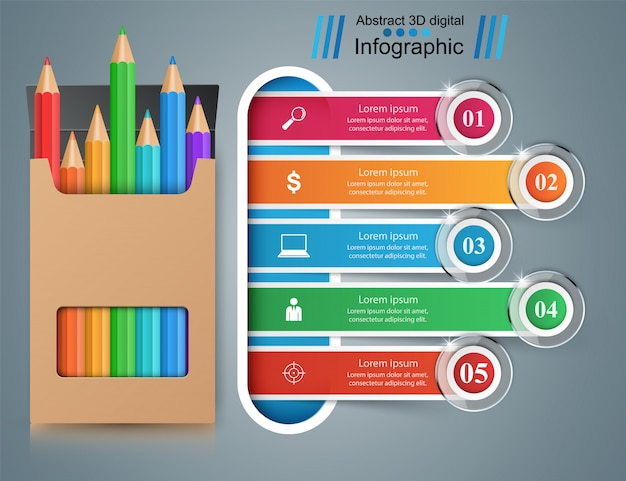 Infográfico de educação de negócios com lápis Vetor Premium