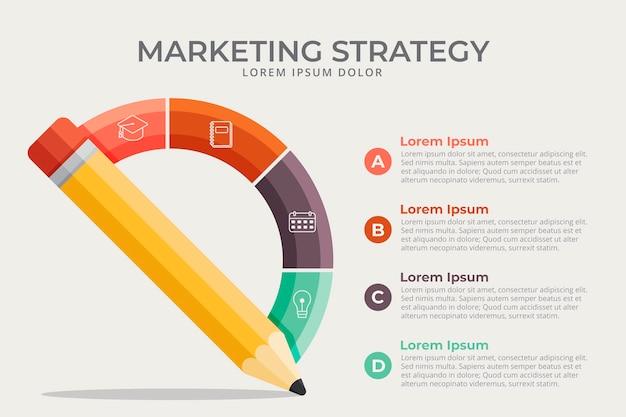 Infográfico de escola de design plano com estratégia de marketing Vetor Premium