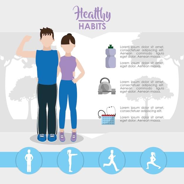 Infográfico de estilo de vida de hábitos saudáveis Vetor Premium