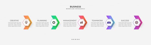 Infográfico de etapas com fluxo de trabalho de várias opções Vetor Premium
