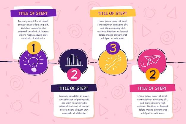 Infográfico de etapas desenhadas mão Vetor grátis