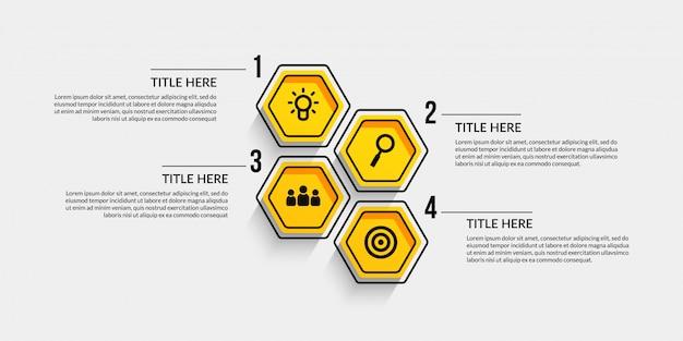 Infográfico de fluxo de trabalho com quatro opcionais Vetor Premium