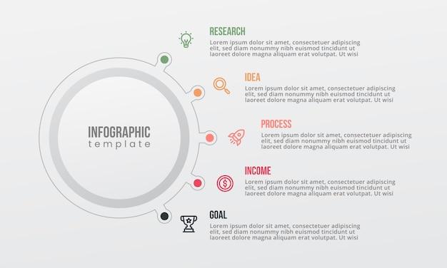 Infográfico de forma de círculo com opção de 5 pontos Vetor Premium