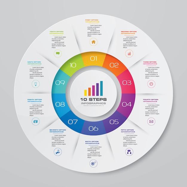 Infográfico de gráfico de ciclo para apresentação de dados Vetor Premium