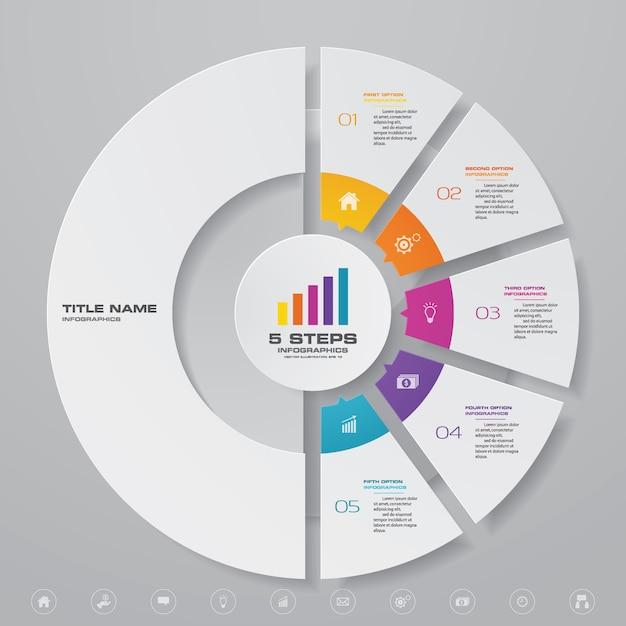 Infográfico de gráfico para apresentação de dados Vetor Premium