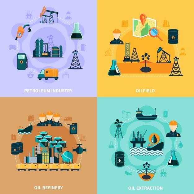 Infográfico de infraestrutura de petróleo conceito Vetor Premium