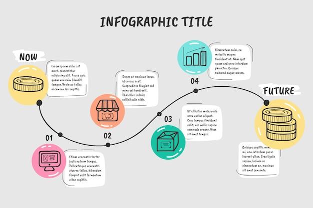 Infográfico de linha do tempo desenhada de mão Vetor grátis