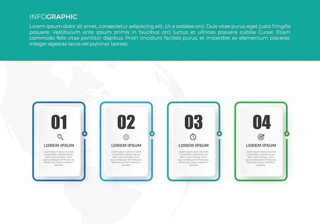 Infográfico de linha fina com números, opções ou etapas Vetor Premium