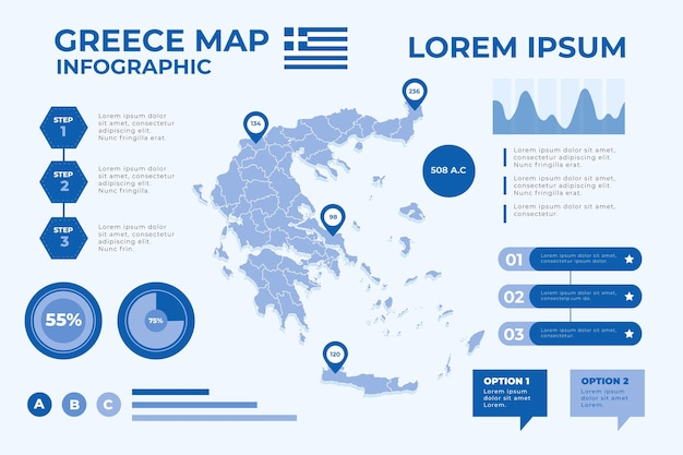 Infográfico de mapa da grécia em design plano Vetor grátis