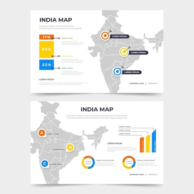 Infográfico de mapa da índia plana Vetor grátis