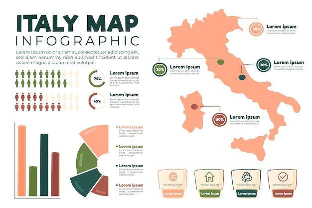 Infográfico de mapa da itália desenhado à mão Vetor Premium
