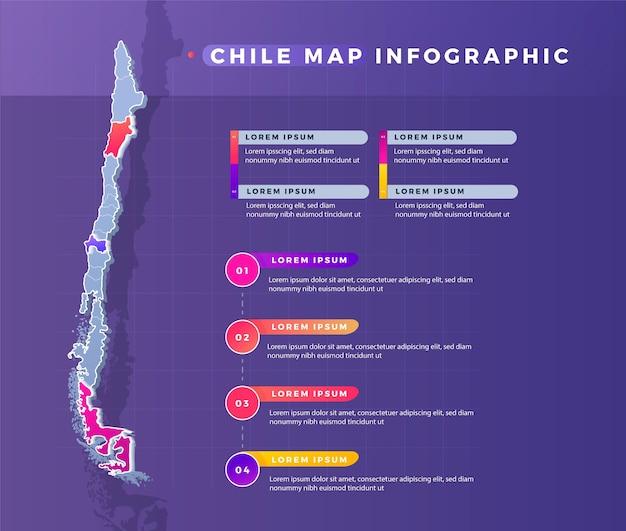 Infográfico de mapa de gradiente do chile Vetor Premium