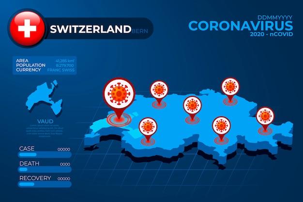 Infográfico de mapa de país de coronavírus Vetor Premium