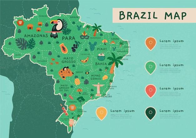 Infográfico de mapa do brasil desenhado à mão Vetor grátis