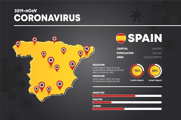 Infográfico de mapa do país com coronavírus Vetor grátis