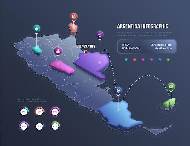 Infográfico de mapa isométrico da argentina Vetor Premium