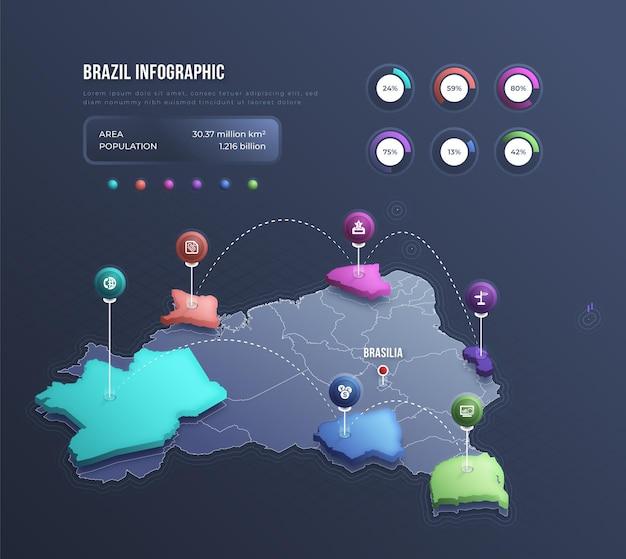 Infográfico de mapa isométrico do brasil Vetor Premium