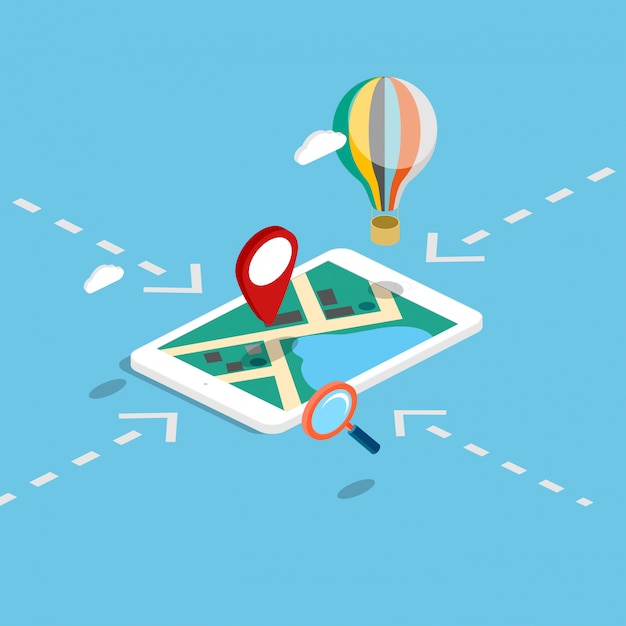 Infográfico de mapas de navegação móvel isométrica plana 3d. Vetor Premium