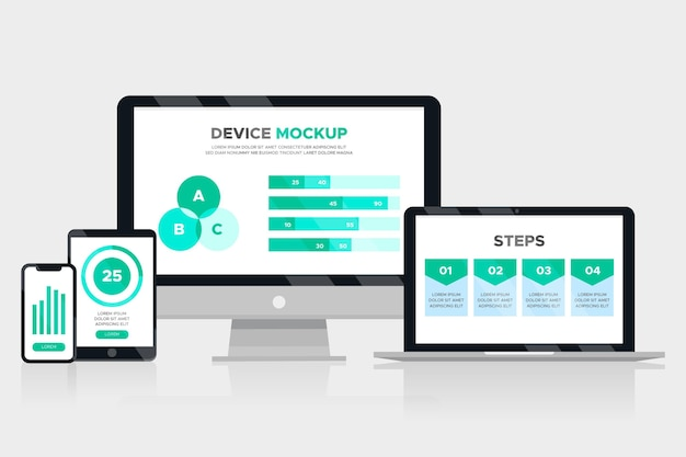Infográfico de maquete de dispositivo Vetor Premium
